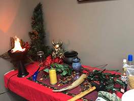 Yule holiday altar